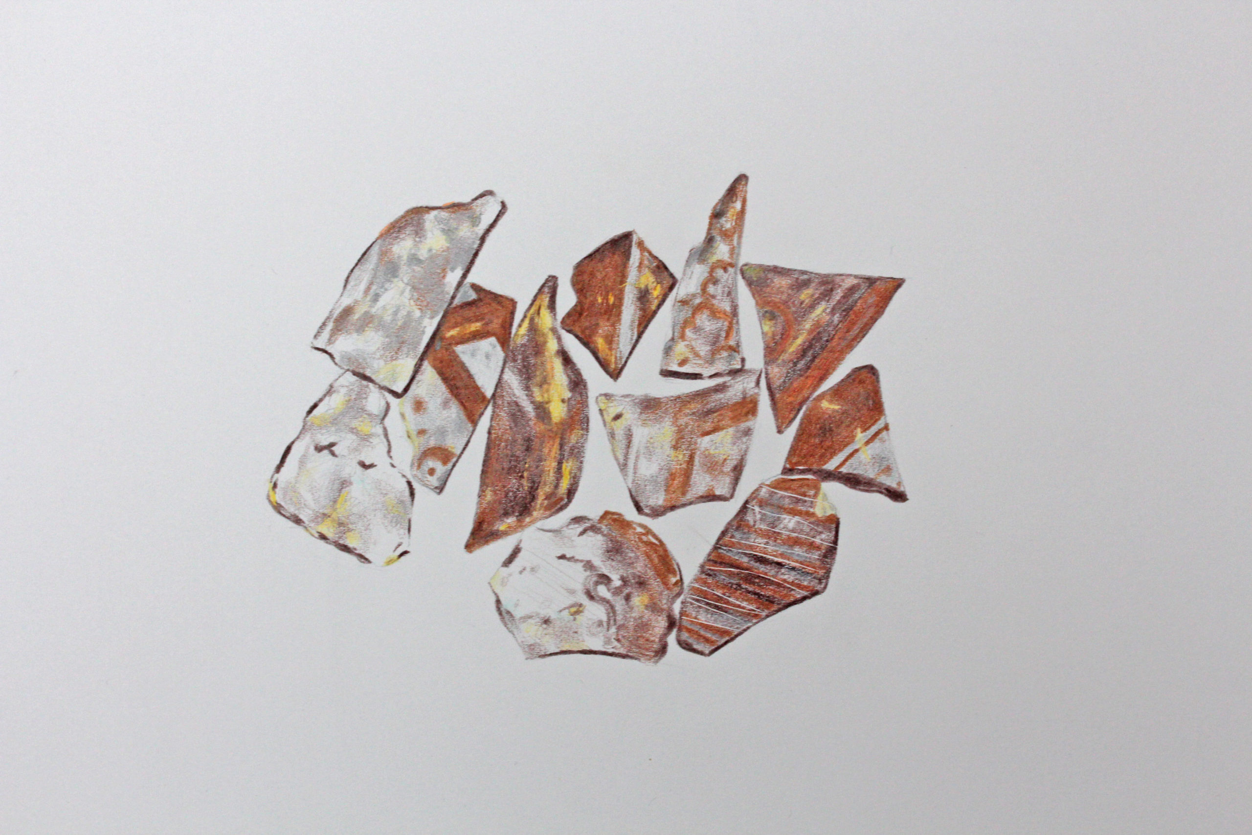 Fragment Group coloured pencil drawing by Abi Spendlove