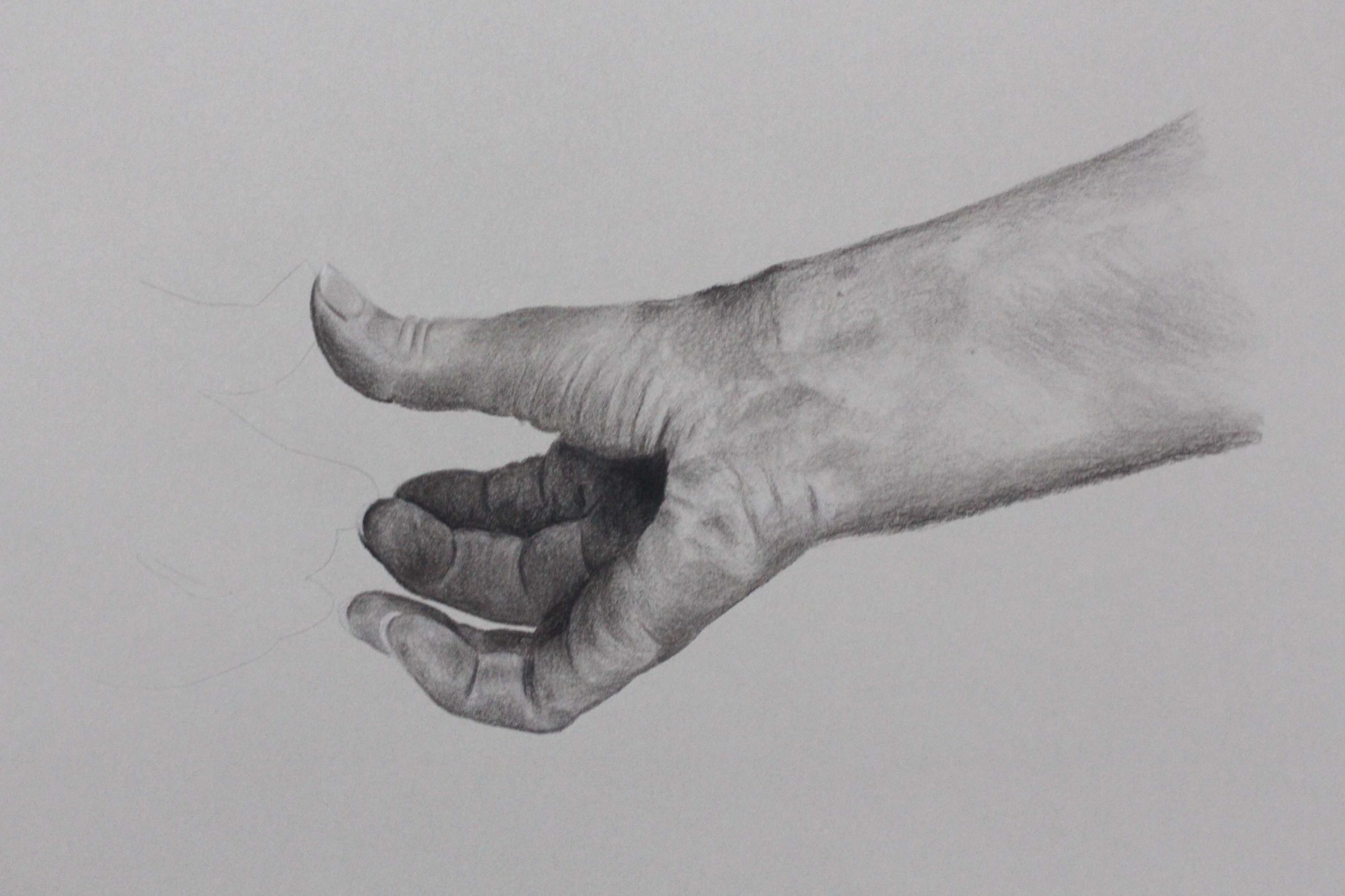 Pencil drawing of hand touching an barely visible reflection by Abi Spendlove